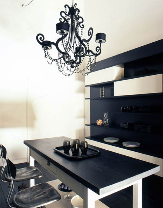 Stylish home black and white interiors for Interior house designs black and white