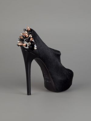 Black Ruthie Davis Spike II pony fur bootie - side view.jpg