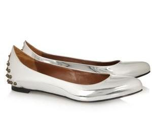 McQ Alexander McQueen Studded metallic leather ballet flats.jpg