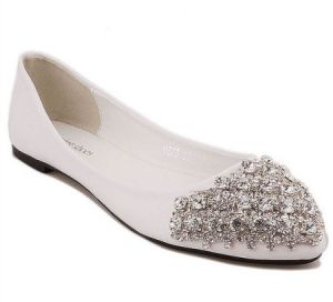 chicnova Bling Bling Ballet Flats in White.jpg