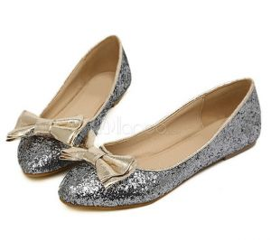 milanoo Charming Silver PU Leather Glitter Pointed Toe Bow Ballet Flats For Women.jpg