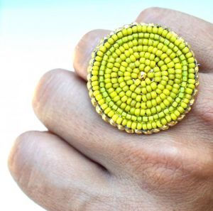 Chartreuse green Bead Embroidered Ring on Luulla.JPG