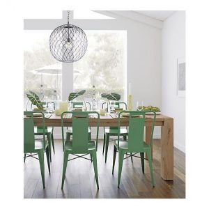 Crate and Barrel Ming Green Side Chair, Hoyne Pendant Lamp - Big Sur Dining Table.jpg