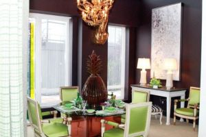 Dining room with brown plum walls and lime green dining chairs via Luscious Life decor blog.jpg