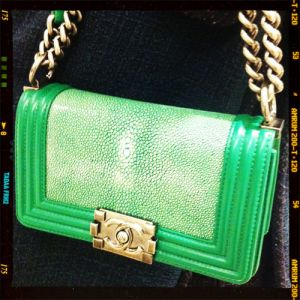 Green bag with gold clasp - looks like chanel.jpg