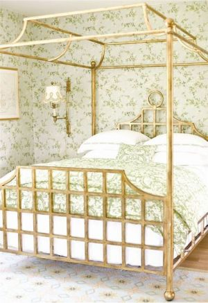 Green floral chinoiserie inspired wallpaper and bedlinen with gold brass bedframe.jpg