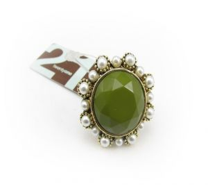 Large Green Stone Center with Pearl Rim Ring.jpg