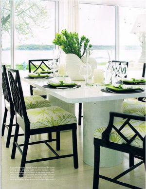 Luscious green fern pattern seat covers with blalck wicker bamboo dining chairs.jpg