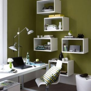 Study home office area with white storage boxes on the wall and olive green paint colour.jpg