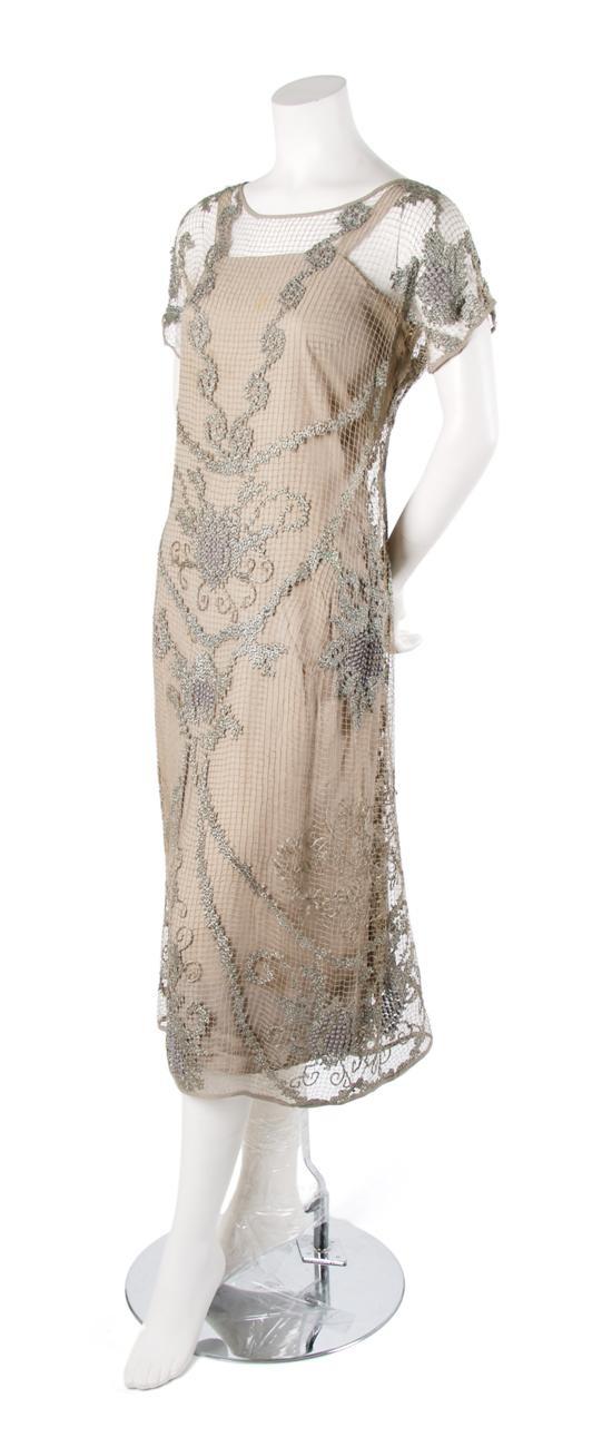 Wedding dress 20s style champagne lace evening ensemble 1920s jpg