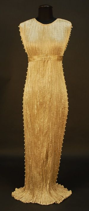 the vintage wedding - Gold silk 1920s Fortuny gown iconic Delphos dress.jpg
