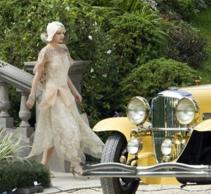 the great gatsby movie set - daisy with vintage yellow car via mylusciouslife.jpg