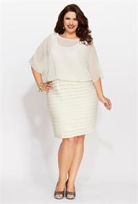 Dresses avenue plus size chiffon pleat bottom dress white cream jpg