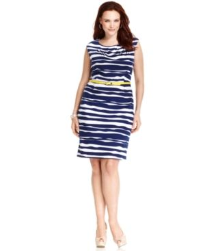 AGB Plus Size Dress Sleeveless Printed Belted.jpg