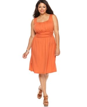 AGB Plus Size Dress Sleeveless Ruched Waist.jpg