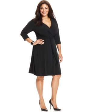 AGB Plus Size Dress Three-Quarter-Sleeve Belted Faux Wrap Plus Sizes PLUS SIZE APPAREL - Plus Size Dresses.jpg