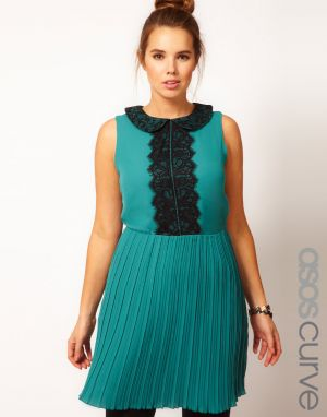 ASOS CURVE Skater Dress With Lace Detail - teal blue black.jpg