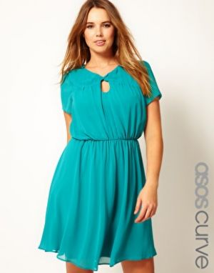 ASOS CURVE Skater Dress With Twist Neck - teal turquoise blue.jpg