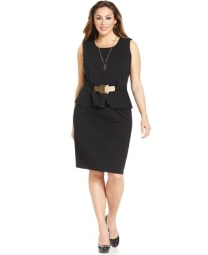 Alfani Plus Size Dress Sleeveless Belted Peplum Plus Sizes PLUS SIZE APPAREL.jpg