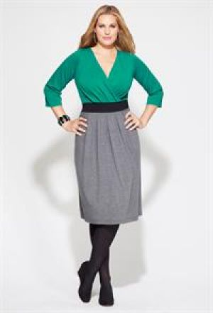 Avenue Plus Size Banded Pleat Front Dress teal green grey.jpg