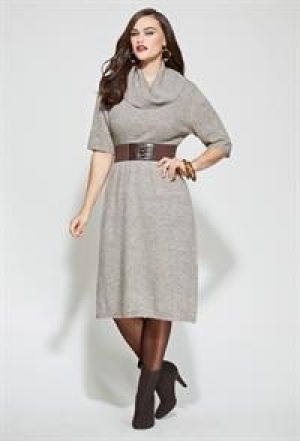 Avenue Plus Size Belted Cowl Neck Sweater Dress.jpg