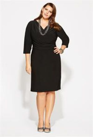 Avenue Plus Size Black Criss Cross Bodice Dress.jpg