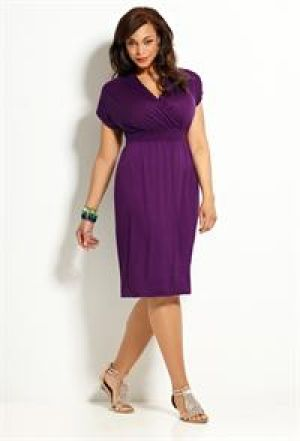 Avenue Plus Size Cap Sleeve Solid Dress - purple day dress.jpg