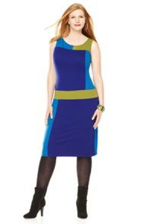 Avenue Plus Size Mixed Colorblock Sheath Dress - Mod 60s style.jpg