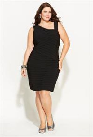 Avenue Plus Size Pleated Faux One Shoulder Dress.jpg