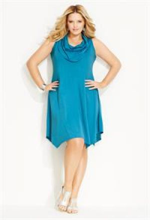 Avenue Plus Size Solid Handkerchief Hem Dress.jpg