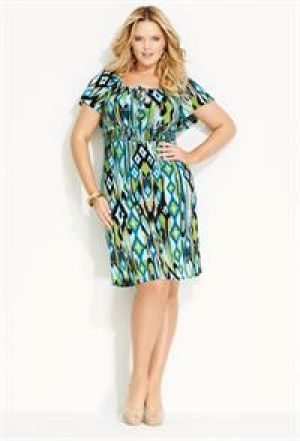 Avenue Plus Size Tie Front Smocked Waist Dress.jpg