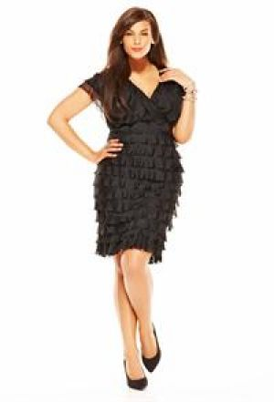 Avenue Plus Size V-Neck Ruffle Dress.jpg