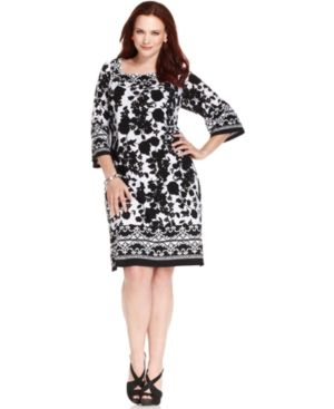 Black and white printed NY Collection Plus Size Dress Three-Quarter-Sleeve Printed.jpg