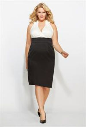 Black and white retro inspired Avenue Plus Size Two Tone Ruffle Collar Dress.jpg