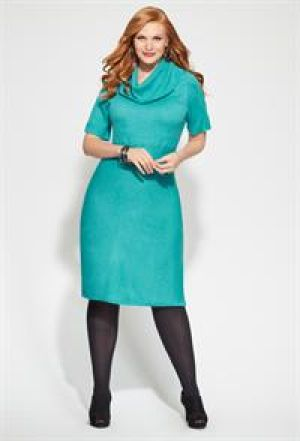 Blue Avenue Plus Size Ribbed Cowl Neck Sweater Dress.jpg