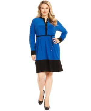 Calvin Klein Plus Size Dress Long-Sleeve Colorblocked Shirtdress.jpg