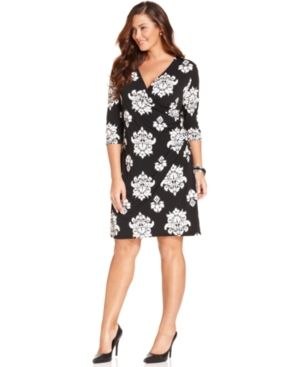 Charter Club Plus Size Dress Three-Quarter-Sleeve Printed Faux Wrap.jpg