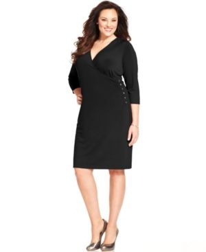 Charter Club Plus Size Dress black Three-Quarter-Sleeve Surplice-Neck.jpg