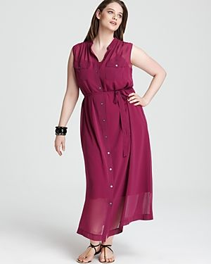 DKNYC Plus Sleeveless Band Collar Maxi Dress-Plus Sizes.jpg