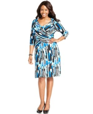 Elementz Plus Size Dress B-Slim Three-Quarter-Sleeve Printed.jpg