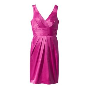 Hot pink cocktail dress from Target Plus Crossover V-Neck Sateen Dress - Tutti Frutti Pink.jpg