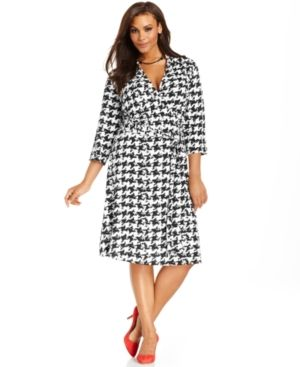 INC International Concepts Plus Size Dress Three-Quarter-Sleeve Houndstooth Wrap.jpg
