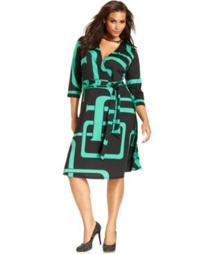 INC International Concepts Plus Size Dress geometric Three-Quarter-Sleeve Printed Faux-Wrap.jpg