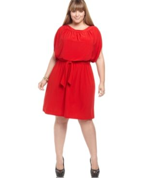 Love Squared Just For Wraps Plus Size Dress Short Sleeve Belted - red.jpg