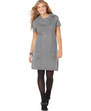 Love Squared Plus Size Dress Short Sleeve Cable Sweaterdress.jpg