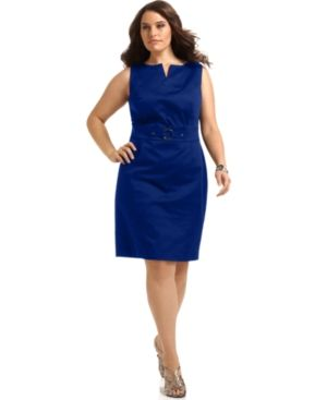 Monaco blue AGB Plus Size Dress Sleeveless O-Ring Sheath.jpg