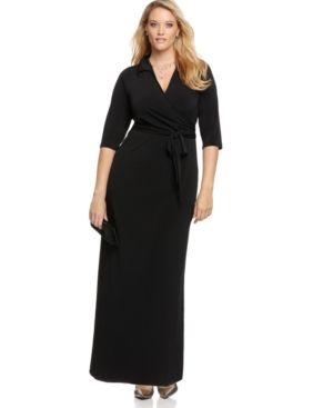 NY Collection Plus Size Dress Faux Wrap Maxi Plus Sizes PLUS SIZE APPAREL - Plus Size Dresses.jpg