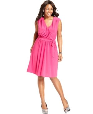 NY Collection Plus Size Dress Sleeveless Faux-Wrap - pink.jpg