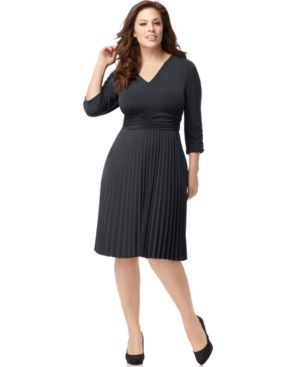 NY Collection Plus Size Dress Three Quarter Sleeve Ruched Pleated Cocktail Dress.jpg
