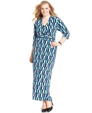 NY Collection Plus Size Dress Three-Quarter-Sleeve Printed Faux-Wrap Maxi.jpg